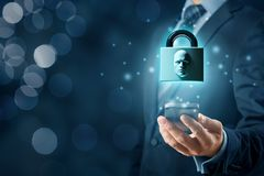 Face identification smart phone unlock. Smart phone face detection and identification ID concept. Padlock with face is metaphor of unlocking tablet via face royalty free stock photography