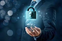 Face identification smart phone unlock. Smart phone face detection and identification ID concept. Padlock with face is metaphor of unlocking tablet via face stock photos