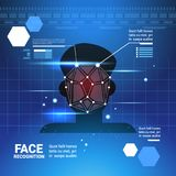 Face Identification System Scanning Man Access Control Modern Technology Biometrical Recognition Concept. Face Identification System Scannig Man Access Control Royalty Free Stock Image