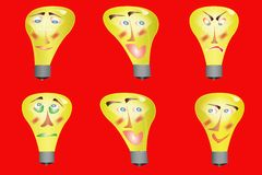 Light bulb Face Illustration Royalty Free Stock Image