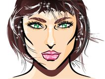 Face illustration of sexy girl Stock Photography
