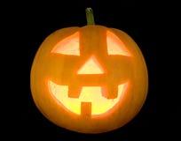 Face iluminada abóbora de Halloween Fotos de Stock Royalty Free