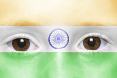 Face with indian flag. Human`s face with indian flag stock images