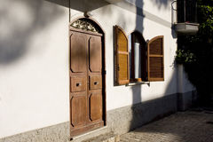 Face of italian flat. Door and window of a flat in the small town of sperlonga, italy Stock Images