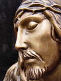 Face of jesus. Golden statue Stock Images