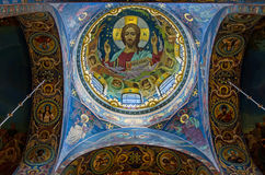 The face of Jesus. In the Church of the Savior on Spilled Blood stock photo