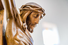 The face of Jesus Christ with crown of thorns. Celebrating the Good Friday, the face of Jesus Christ with crown of thorns dead on the cross Stock Photo