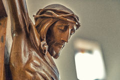 The face of Jesus Christ with crown of thorns. Celebrating the Good Friday, the face of Jesus Christ with crown of thorns dead on the cross Royalty Free Stock Image