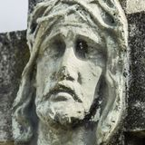 Face of Jesus Christ crown of thorns fragment of ancient statue