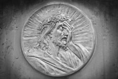 Face of Jesus Christ crown of thorns (statue) Stock Photo