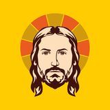 Face of Jesus Christ hand drawn. Face of Jesus Christ hand drawn vector illustration