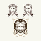 Face of Jesus Christ and Icon Orthodox Church. Royalty Free Stock Photo