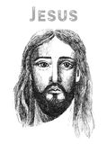 Face of Jesus Christ, low poly watercolor vector illustration. Stock Photo