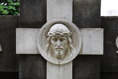 Face of Jesus Christ on the monument royalty free stock photos