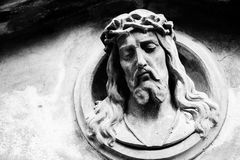 Face of Jesus Christ on a tomb Stock Photography