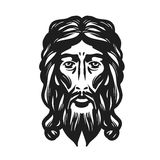 Face of Jesus isolated on white background. Vector illustration Stock Photography