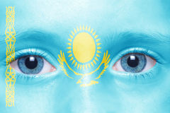 Face with kazakhstan flag Stock Photography
