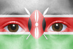 Face with kenyan flag Royalty Free Stock Images