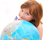 Face kid globe. Stock Images