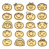 Face Kids Draw Emotion Feeling Icon Cute Cartoon Vector Design Stock Image