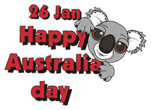 Face of koala with words 26 january happy Australian day Royalty Free Stock Image