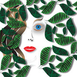 Face in the Leaves. A girl's face is partly obscured by green leaves in an abstract background illustration stock illustration