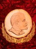 Face of Lenin on Russian flag Royalty Free Stock Photos
