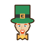 face leprechaun with hat bowtie and blue eyes Stock Image