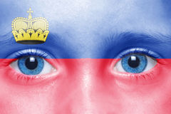 Face with liechtenstein flag Royalty Free Stock Photography