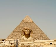 Face Lift. Scaffolding to side of sphinx for restoration work to reverse the effects of the sands of time, taken during June 2006 with Pyramid  in Background at Stock Photos