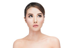 Face lift anti-aging treatment Stock Photos