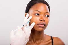 Face lifting injection Royalty Free Stock Photography