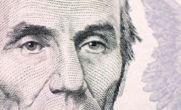The face of Lincoln the dollar bill macro Royalty Free Stock Image