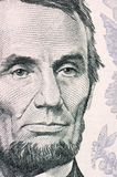 The face of Lincoln the dollar bill macro Stock Image
