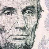 The face of Lincoln the dollar bill macro Stock Photo