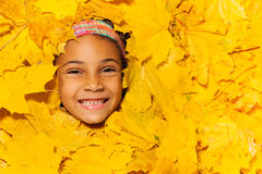 Face of a little African girl in autumn leaves Royalty Free Stock Photo