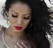 Face with long eye lashes. Beautiful young woman's face with long eye lashes stock images