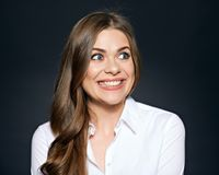 Face look in awkward situation of young woman. Royalty Free Stock Image