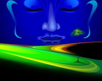 Face of Lord Buddha depicting peace. Digital painting of Lord Buddha. The digital painting show the calmness of the face of Buddha in a plane of green Royalty Free Stock Photo
