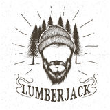 Face of lumberjack with beard and hat Stock Images
