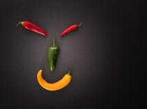 Face made from different chili peppers Stock Photography