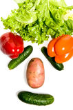 Face made out of different vegetables Stock Photos