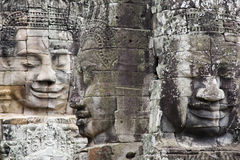 Face made of stone in angkor in cambodia royalty free stock photography