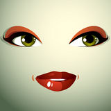 Face makeup, lips and eyes of an attractive woman displaying hap Royalty Free Stock Photography
