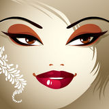 Face makeup. Lips, eyes and eyebrows of an attractive woman disp Royalty Free Stock Images