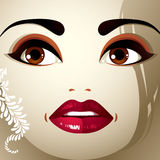 Face makeup. Lips, eyes and eyebrows of an attractive woman disp Royalty Free Stock Photography