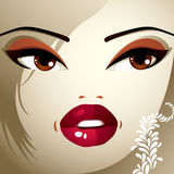 Face makeup. Lips, eyes and eyebrows of an attractive woman disp Stock Image