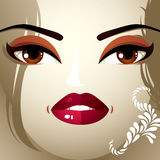 Face makeup. Lips, eyes and eyebrows of an attractive woman disp Stock Photography