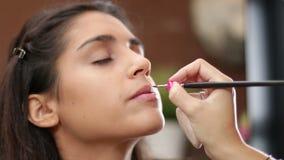 Face Makeup Making Lips Brush stock video