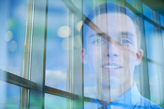 Face of male in window Royalty Free Stock Images